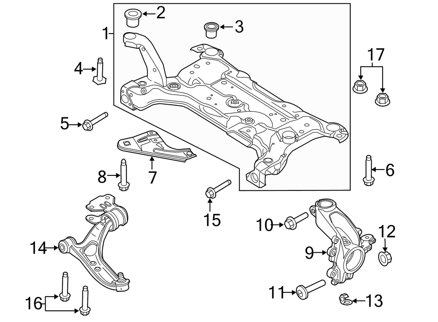 Ford Focus Suspension Subframe Crossmember  To 06  29  2012  Front  Steering  Components