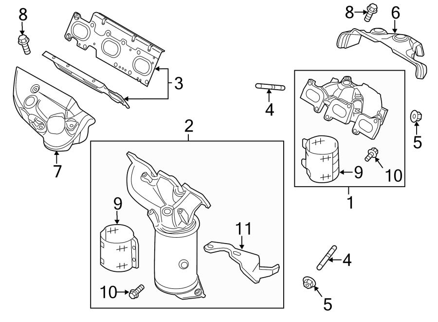 ford taurus catalytic converter heat shield bolt  liter  non  exhaust