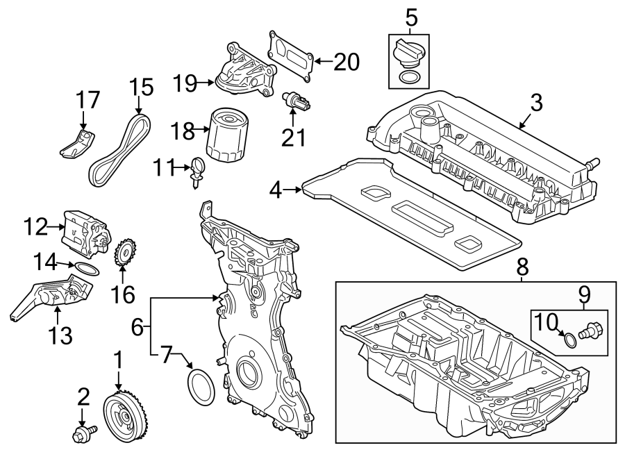 Ford Escape Chain  Pump  Oil  Engine  Assembly