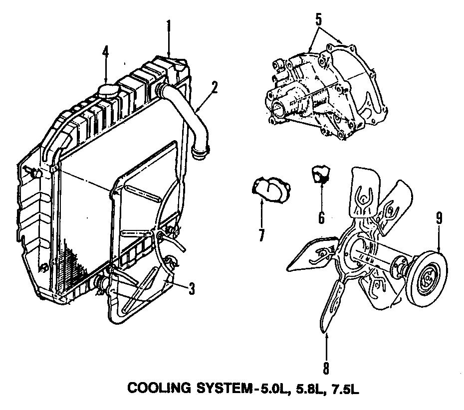 ford bronco engine cooling fan clutch  liter  pick  radiator